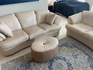 Cream Leather Couch Set + Ottoman for Sale in Miami, FL