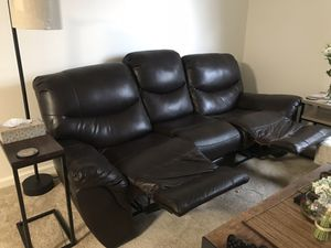 Free vinyl couch - torn at one foot rest but reclining works perfectly for Sale in San Jose, CA