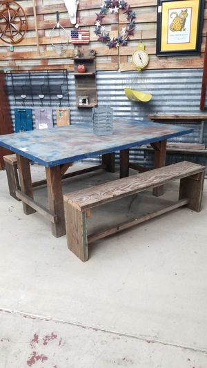 """* re-listed, see our page. Reclaimed wood and old metal sign transformed to table and benches 64"""" x 42"""" for Sale in La Mesa, CA"""