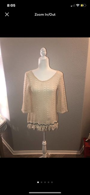 Super cute Hippie scooped back sweater with bottom fringe/tassles. Size small although could really fit comfortably as a medium as well Discount on for Sale in Saginaw, TX