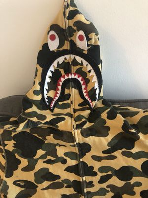 BAPE 1st Camo Shark Full Zip Hoodie (FW18) Yellow for Sale in Mount Rainier, MD
