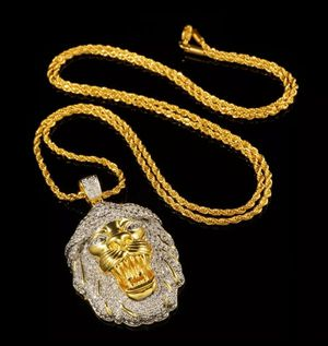 18K Gold Bling Out Iced CZ Pave Lion Stainless Steel Rope Chain Pendant Necklace for Sale in Los Angeles, CA