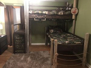 Woodsy/outdoor theme Custom wooden bunk beds for Sale in Joliet, IL