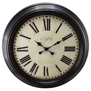 """Large wall clock 23 """" x 23"""" (LaCrosse)— this battery operated has quartz movement to keep accurate time -,Brown Plastic frame, glass lens, metal hand for Sale in Andover, MA"""