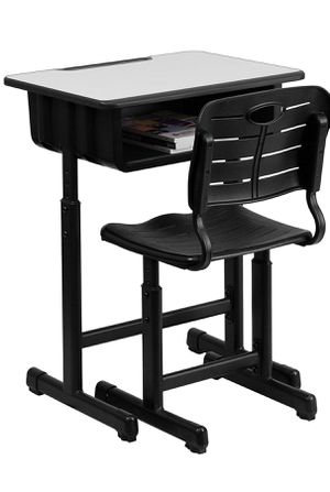 Kids Desk and Chair with Black Pedestal Frame Adjustable Height NEW for Sale in Brooklyn, NY