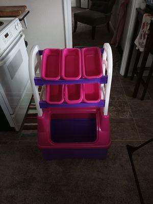 Pink purple plastic kids toy box for Sale in Tacoma, WA