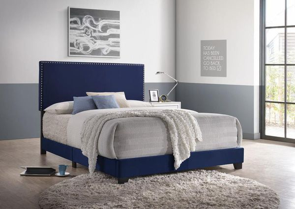 [SPECIAL] Erin Navy Velvet Queen Bed | 5271 ( King, Twin , Full sizes available)
