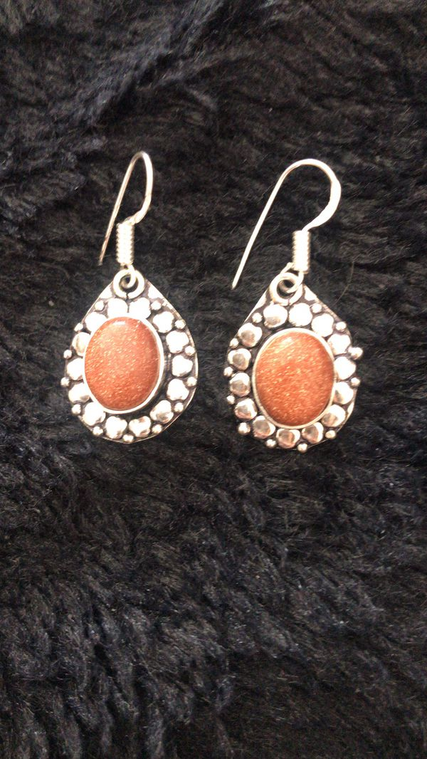 Genuine Goldstone earnings sterling silver 925 plated