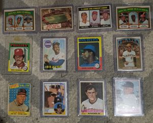 Vintage baseball cards 2 Hank Aaron, Mickey Mantle, 2 Nolan Ryan, Maris, Clemente, Ted Williams,Sandy Koufax and more. Will ship threw offer up for Sale in Port Arthur, TX