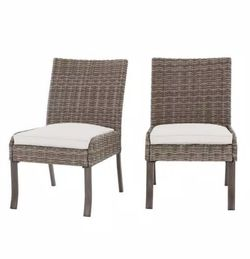 Hampton Bay Windsor Brown Wicker Outdoor Patio Stationary Armless Dining Chair with CushionGuard Chalk White Cushions (2-Pack) for Sale in Umatilla,  FL