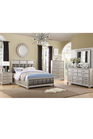 Bedroom set/4 pieces (bed frame,1 nightstand,dresser and mirror)(Mattress not included) for Sale in Miami, FL