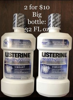 Listerine Health White Mouthwash- Whiter Smile in 5 days- 2 for $10 or $6 each for Sale in Monterey Park, CA