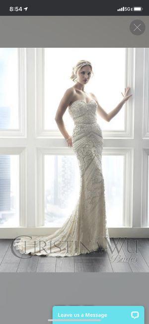 Ivory beaded elegant wedding dress size 8 for Sale in Parkville, MD