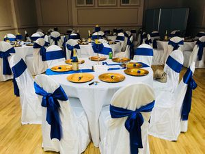 120 tie blue chairs and 16 center pieces table blue...3 table cloths large blue and 5 small, 11 roses blue ,2 pink for Sale in Hyattsville, MD