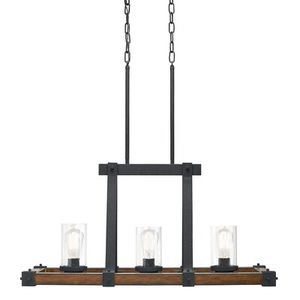 Rustic Glass Chandelier Kichler Barrington Distressed Black and Wood Tone Kitchen Island Light Seeded Pendant Light for Sale in Staten Island, NY
