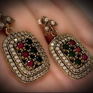 RUBY EMERALD FINE ART DANGLE POST EARRINGS Solid 925 Sterling Silver/Gold WOW! Brilliantly Faceted Round Cut Gemstones, Diamond Topaz M7981 V for Sale in San Diego, CA