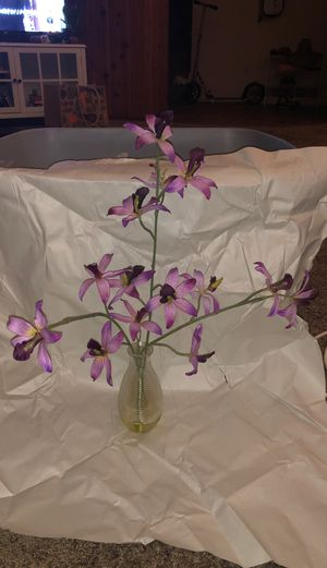 Fake purple flowers in vase for Sale in San Diego, CA