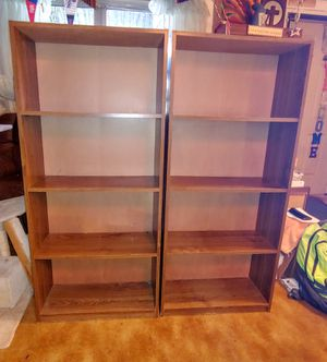 2 wooden bookshelves 4 shelves each good condition 53in tall 10in deep 24in wide both for $50 1 for $30 for Sale in Ocean Ridge, FL