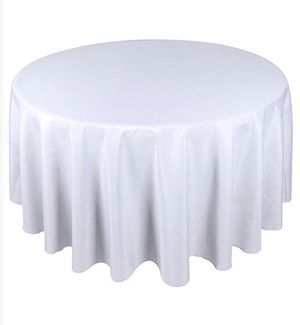 Polyester Round Tablecloth - WHITE and CREAM for Sale in Swampscott, MA