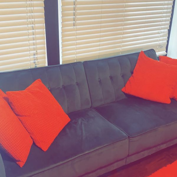 Grey Couch With 1 Set Of Pillows To Match