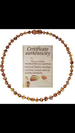 Baltic Amber Baby Teething Necklace - Brand New - 100% Genuine Amber w/certificate of authenticity for Sale in Glendale, AZ