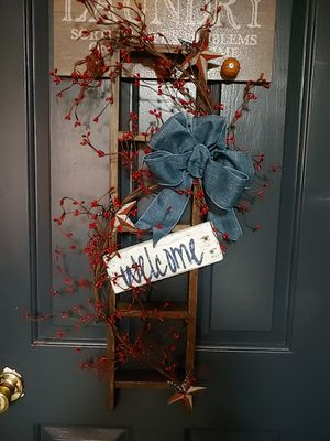 Country primitive handmade decorated wooden welcome ladder americana for Sale for sale  West York, PA