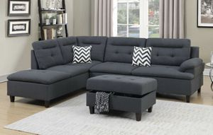 Modern sectional sofa with storage ottoman charcoal fabric for Sale in Downey, CA
