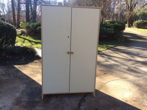 """Large storage cabinet or closet has adjustable shelves and 2 clothes rods 65"""" tall ,39 1/2 """"wide 20""""deep for Sale in Kernersville, NC"""