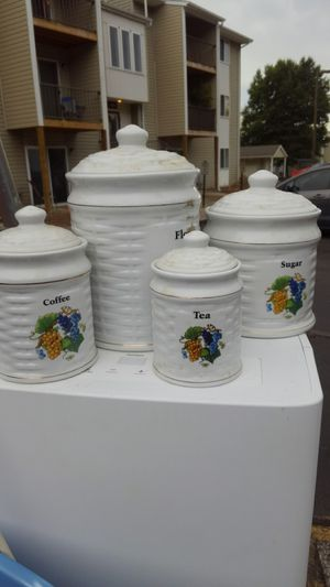 4 piece kitchen storage glass porcelain something for Sale in Greenville, SC