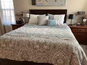 Queen cherry bed frame, memory foam mattress and comforter for Sale in Sacramento, CA