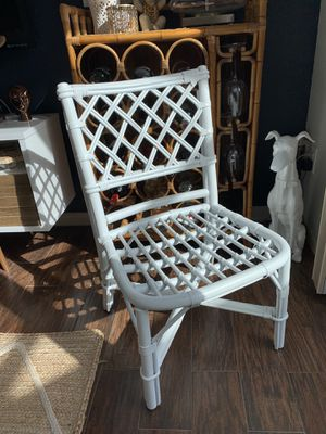 Genuine Ficks Reed white woven lattice bamboo rattan chair for Sale in Port St. Lucie, FL