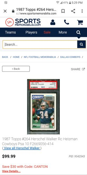 87 Topps Herschel Walker Rookie Heisman for Sale in Farmington, IL