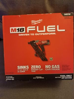 Milwaukee fuel 15 gauge finish nailer M18 New for Sale in Arlington, VA