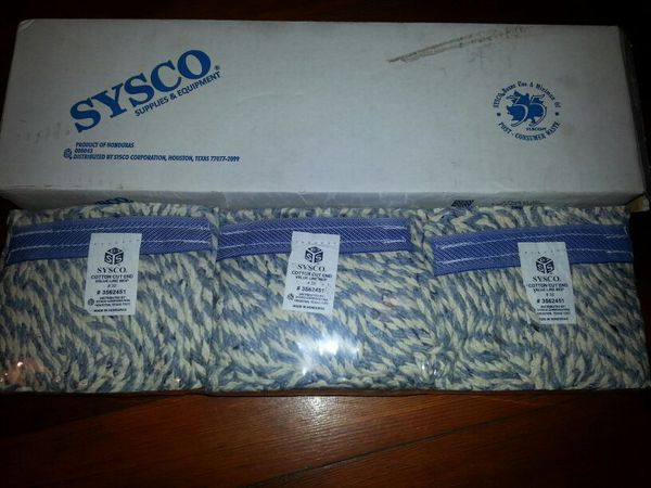 3 pack of sysco cotton cut end mop heads