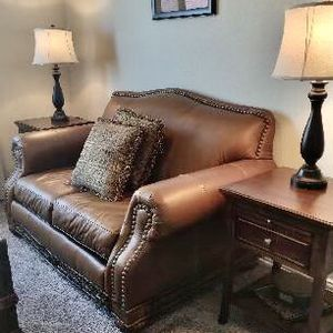 Leather Loveseat, Leather Accent Chair & 2 End Tables for Sale in Hutto, TX