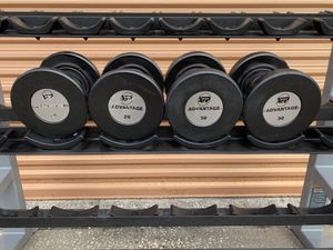 Hampton Commercial Rubber Coated Dumbbells with Gel Coated Grips- 20 & 30 Lb Sets for Sale in Davenport, FL