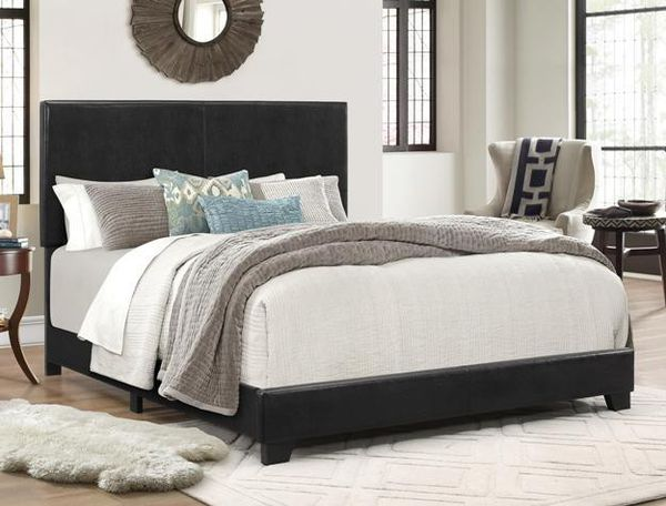 [SPECIAL] Erin Black Faux Leather Queen Bed | 5271 ( King, Twin , Full sizes available)