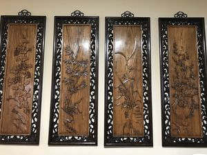 Carved four seasons panels, Chinese. for Sale in San Francisco, CA