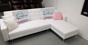 New White Faux Leather Sofa Futon Sectional Couch - Financing Available for Sale in Anaheim, CA