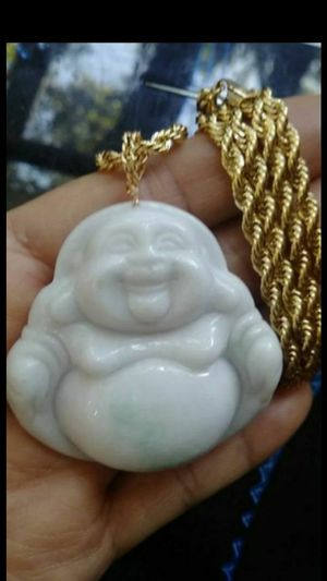 "Bunddle Prayer Happy Buddha genuine green jade jadeist giant pendant high quality Italy 14k gold plated rope chain 24"" 4mm for Sale in El Sobrante, CA"