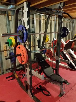 Hoist Smith Machine/Squat Rack, with Bowerblock adjustable bench, extra Olympic barbell and full set of Olympic weights for Sale in Manchester, MO