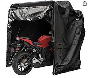 Motorcycle Shelter Storage Waterproof Motorbike Storage Tent Oxford 600D Black Color Motorcycle Shelter Shed with TSA Code Lock & Carry Bag for Sale in Phillips Ranch, CA