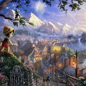 "Thomas Kinkade COPY Disney PINOCCHIO canvas wooden mounted. 11"" x 14"" for Sale in Dover, FL"
