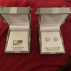 Beautiful Diamond Ring Earring Set Brand New for Sale in Augusta, GA