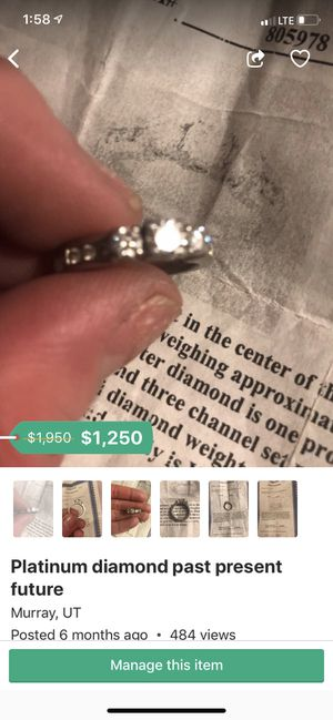 Two platinum and clear diamond rings for Sale in Salt Lake City, UT