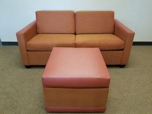 Orange loveseat Couch with Ottoman and Hideabed for Sale in Denver, CO