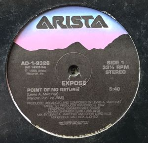 Expose - Point Of No Return - (12-inch Vinyl Record) Single for Sale in Corona, CA
