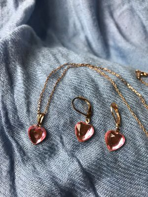 Pink Heart Necklace - Earrings Set for Sale in Silver Spring, MD