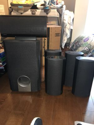 Onkyo surround sound speakers, including subwoofer and color coded wires. for Sale in San Diego, CA