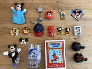 Vintage Disney Mickey Mouse Collectibles - pins, keychains, kitchenware, cards, toys, figures for Sale in Hillsboro, OR